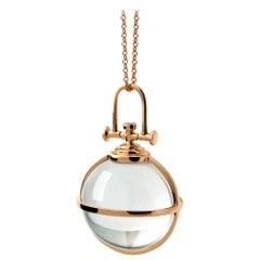 Modern Sacred 18 Karat Gold Natural Rock Crystal Orb Talisman Pendant Necklace