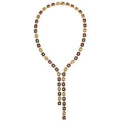 Citrine Tourmaline Diamond and Gold Lariat Necklace