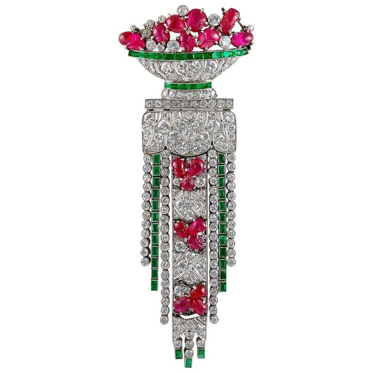 Art Deco French Diamond Emerald Carved Ruby Vase Tassel Brooch