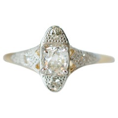1890s Victorian 0.60 Carat Old Mine Cushion Cut Diamond Two-Tone Engagement Ring