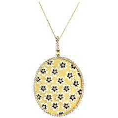2.55 Carat Diamond and Black Diamond Flower Oval Pendant in 18 Karat Yellow Gold