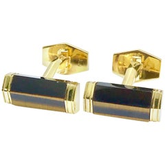 Tiger's Eye Quartz and 18 Karat Yellow Gold Cufflinks with a Toggle Back