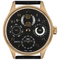 IWC Portugieser Perpetual Calendar Gents 18 Karat Gold Black Dial B&P IW502119