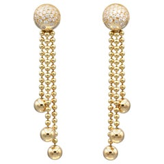 Cartier Draperie Diamond Gold Chandelier Earrings