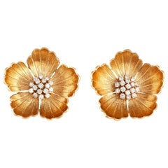 Vintage Gold and Diamond Flower Earrings
