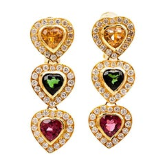 1980s Heart Citrine and Tourmaline 18 Karat Gold Earrings