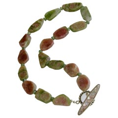 Organic Watermelon Tourmaline Slices Choker Necklace, Tanzy Necklace