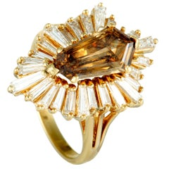 Baguette Diamonds and Brown Center Diamond Yellow Gold Ring