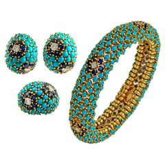 1960s  Sapphire Turquoise Diamond Petit Point Bracelet Three Piece Suite