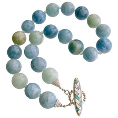 Aquamarine Prasiolite Opal Mother of Pearl Choker Necklace, Brynn IV Necklace