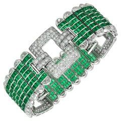 1960s Platinum Diamond and Emerald Bracelet