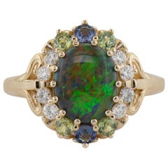 Dianna Rae Jewelry Yellow Gold Black Opal Diamond Alexandrite and Garnet Ring