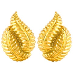 David Webb Leaf Earrings
