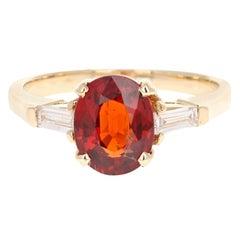 2.72 Carat Spessartine Diamond 14 Karat Yellow Gold Ring
