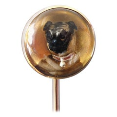 Antique Victorian Essex Crystal Reverse Intaglio Pug Dog Gold Stick Pin, Austria