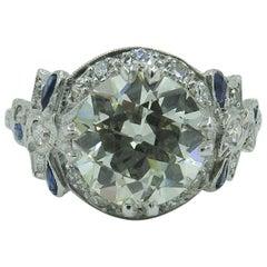 Edwardian Platinum, Diamond and Sapphire Ring