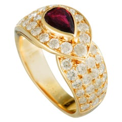 Van Cleef & Arpels Vintage Diamond and Ruby Yellow Gold Band Ring