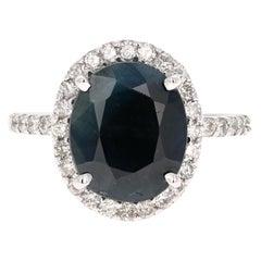 4.65 Carat Sapphire Diamond White Gold Ring