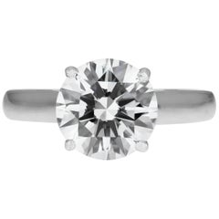 Cartier Diamond Ring, GIA Certified Solitaire Single Stone 2.43 Carat F VVS1