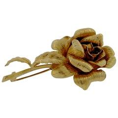 18 Karat Single Rose Brooch
