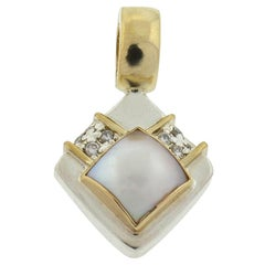 14 Karat Two-Tone Pearl Diamond Pendant Approximate .08 Carat