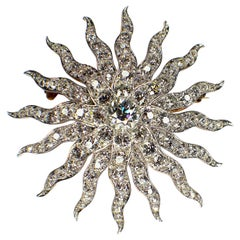 Antique Sun, Diamond Brooch, 1890s