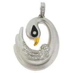 18 Karat White Gold Diamond Swan Pendant Approximate .95 Carat