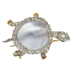 Marcus & Co. Edwardian Diamond Blister Pearl Demantoid Platinum Gold Turtle Pin