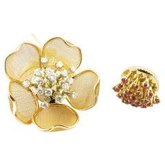 Piaget 18 Karat Yellow Gold Diamond and Ruby Tremblant Flower Brooch
