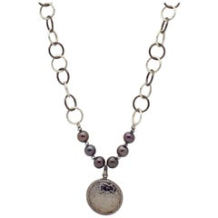 Black & White Sterling Silver Chain Necklace w Hammered Sterling Diamond Pendant