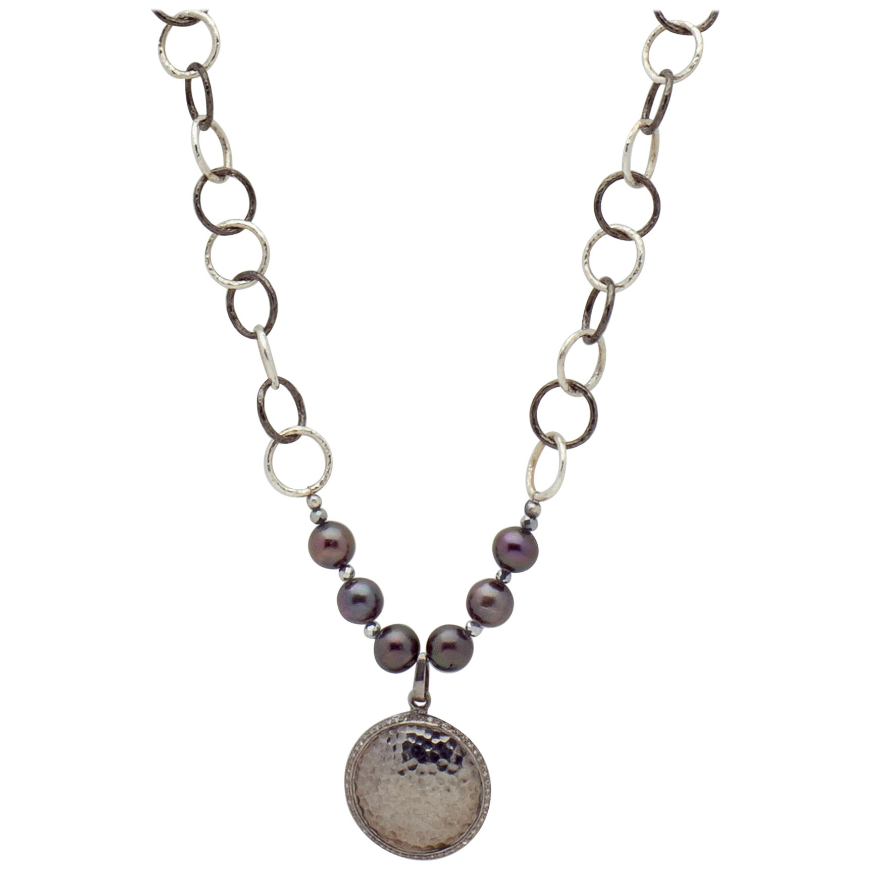 Two Tone Sterling Silver Chain Necklace w Hammered Sterling Diamond Pendant