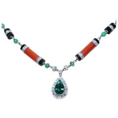 Contemporary Handmade Platinum Coral-Onyx and 5.5 Carat Diamond Necklace