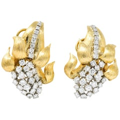 David Webb Retro 2.80 Carat Diamond 18 Karat Gold Ear-Clips Earrings