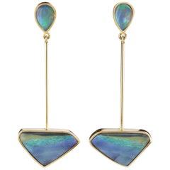 Australian Opal Dangling Gold Earrings