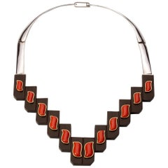 Gold sterling Silver  Ebony and Coral Necklace