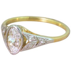 Art Deco 0.54 Carat Old Marquise Cut Diamond Engagement Ring