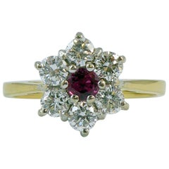 Vintage Ruby Diamond Cluster Ring, London, 1985