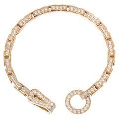 Cartier Diamond Agrafe 18 Karat Yellow Gold Link Bracelet