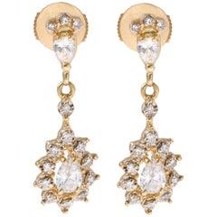 18 Karat Yellow Gold 1.30 Carat Pear Diamond Dangle Earrings