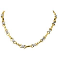 Polished Tiffany & Co. 1.05 Carat Diamond 18 Karat Two-Tone Gold Necklace