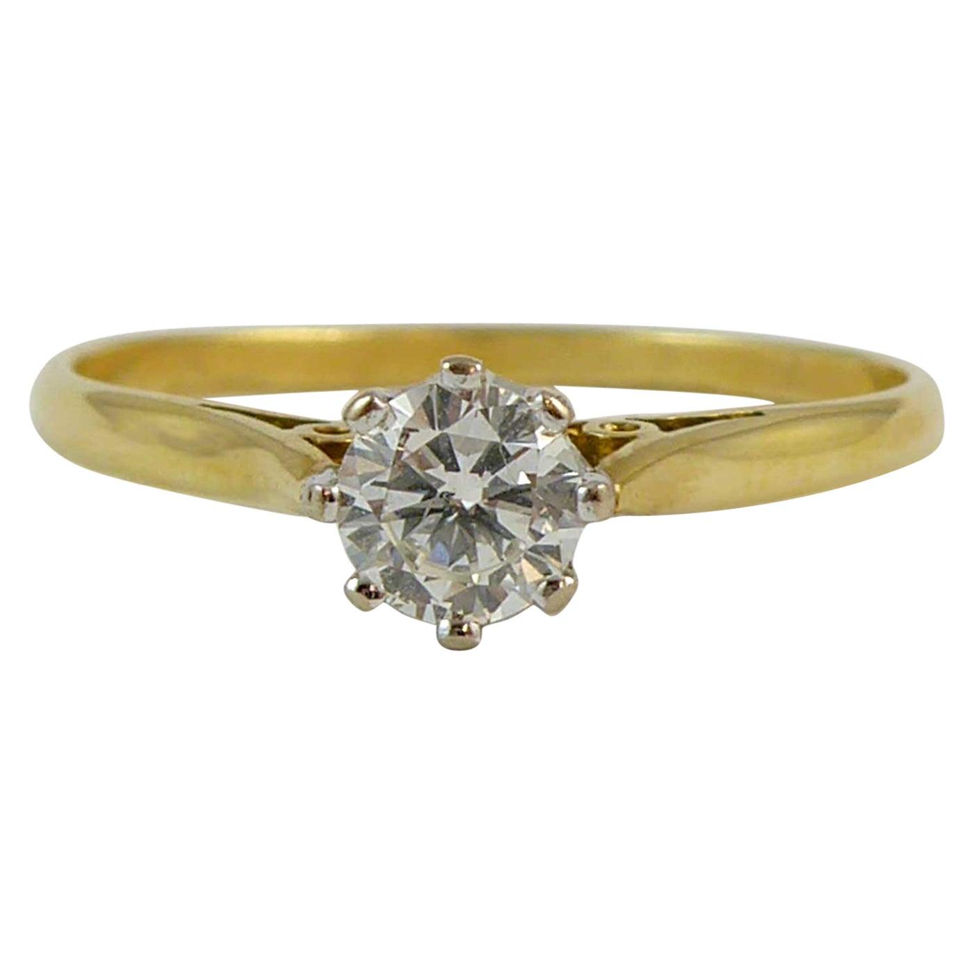 Vintage 0.25 Carat Diamond Solitaire Ring, Hallmarked 1989, Birmingham