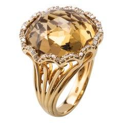 Citrine Diamond 18 Karat Yellow Gold Cocktail Ring
