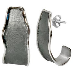 Yianni Creations Fine Silver and Oxidized Rhodium 100% Handmade Artisan Earrings