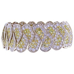20 Carat Yellow and White Pavé Diamond Bracelet