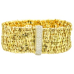 Orlando Orlandini Diamond Fiandra Wide Woven Link Bracelet