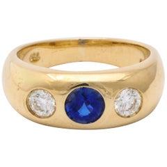 Vintage Art Deco Sapphire and Diamond Gypsy Set Ring