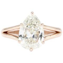 Handmade Rose Gold-Mounted 2.36 Carat Pear Shaped Diamond Ring