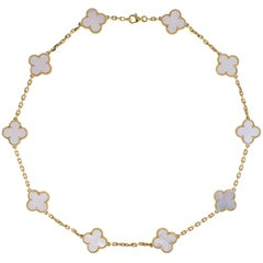 Van Cleef & Arpels Mother of Pearl 10 Motif Vintage Alhambra Necklace