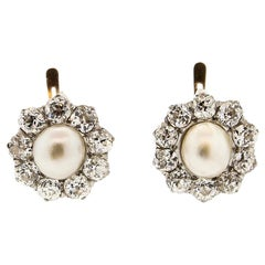 Antique Edwardian Natural Pearl Old Mine Cut Diamond Cluster Earrings