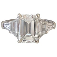 GIA Certified 3.03 Emerald Cut Diamond White Gold Engagement Ring
